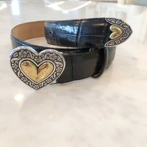 Brighton Black Belt with Two Tone Heart Buckle